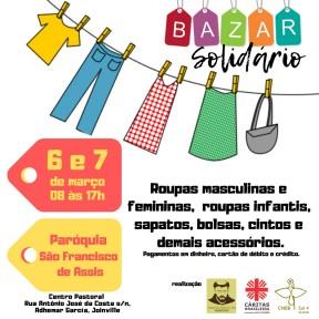 Bazar com 30 mil peças de roupas novas será realizado nos dias 6 e 7 de março