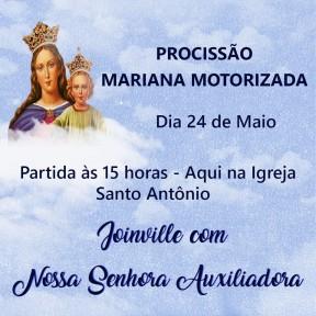 Paróquia faz procissão motorizada de Nossa Senhora Auxiliadora por 15 bairros, em Joinville