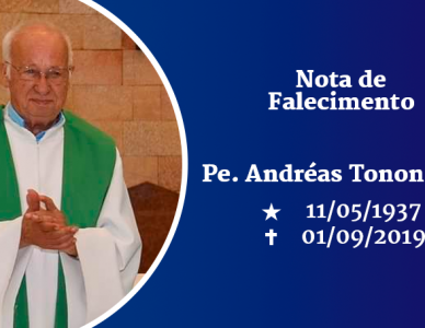 Nota de falecimento - padre Andréas Tonon, sdb