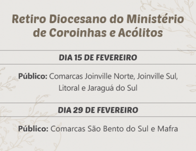 Retiro Diocesano do Ministério de Coroinhas e Acólitos acontece em fevereiro