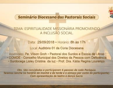 Seminário diocesano das Pastorais Sociais | 29 de setembro