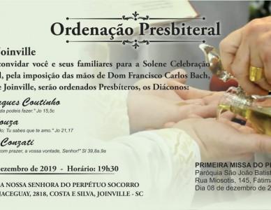 Três diáconos serão ordenados padres no próximo mês