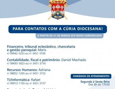 Contatos da Cúria Diocesana neste período de quarentena