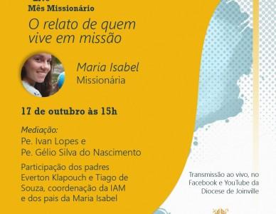 Mês missionário é tema de live promovida pela Diocese de Joinville