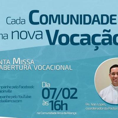 Missa de abertura vocacional acontece neste domingo (7)