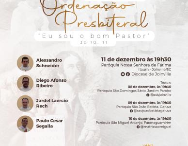 Quatro jovens serão ordenados padres na Diocese de Joinville